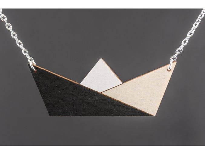 Náhrdelník Alizi Design Black Loďka