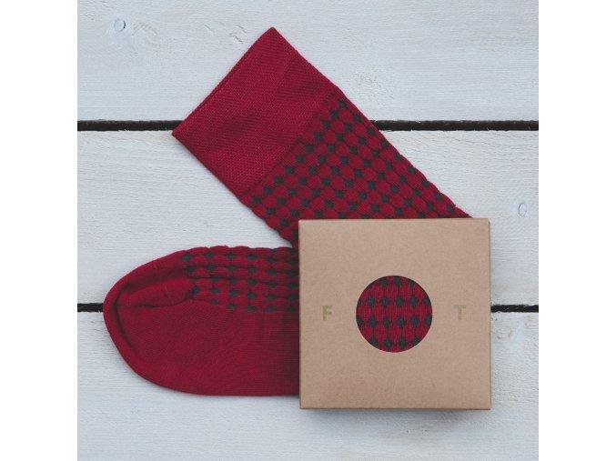 Ponožka Flashtones Tmavě červená Vzor č. 058