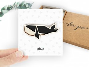 brooch hand whale black
