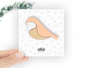 B bird rounded peach