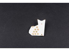 brož Stehlík Kočka pozlacená